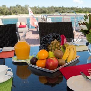 Cosmos Yacht sun deck breakfast