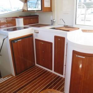 Montebello 12.5 ssailing catamaran galley
