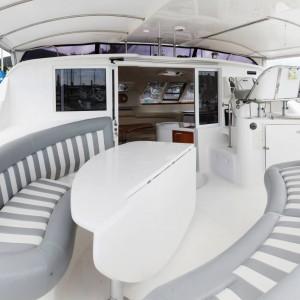 Montebello 12.5 sailing catamaran here n now cockpit