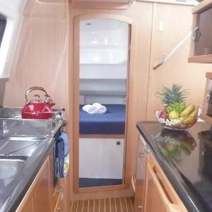 Seawind 1250 catamaran seawindow kitchen bedroom
