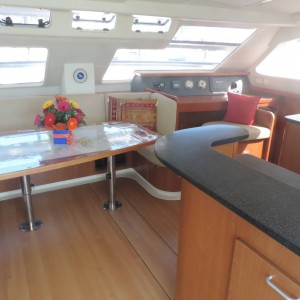 Leopard 46 sailing catamaran two keela saloon & nav