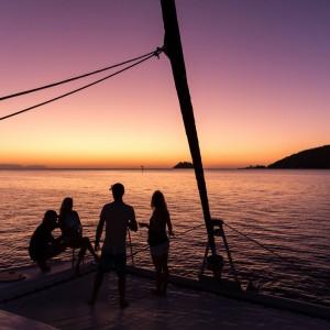 whitsunday getaway catamaran sunset